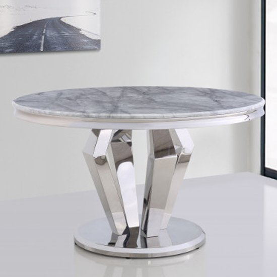 Valentino Round Marble Dining Table In Silver