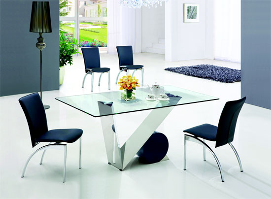 Eugenio Glass Dining Table and 4 Leather Dining Chairs