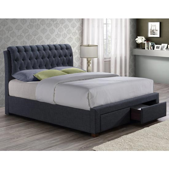 Valentino Fabric King Size Bed In Charcoal With 2 Drawers