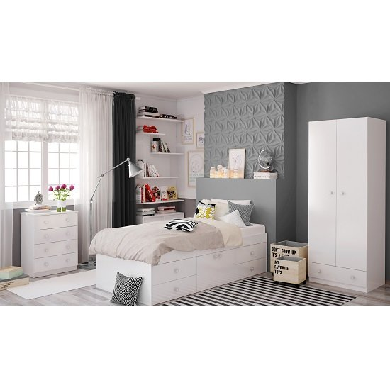 Valerie Wardrobe In White With 2 Doors And 1 Drawer_6