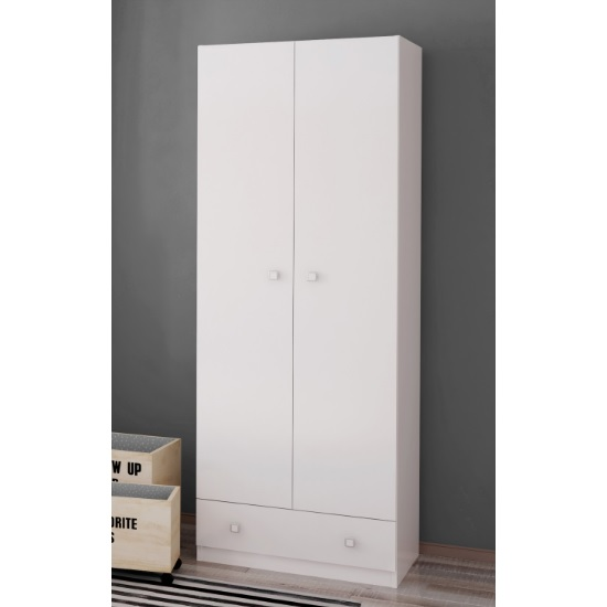 Image of Valerie Wardrobe In White With 2 Doors And 1 Drawer