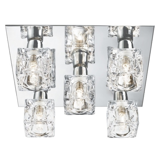 Valerie Square Ceiling Light In Chrome And Ice Cube Glass