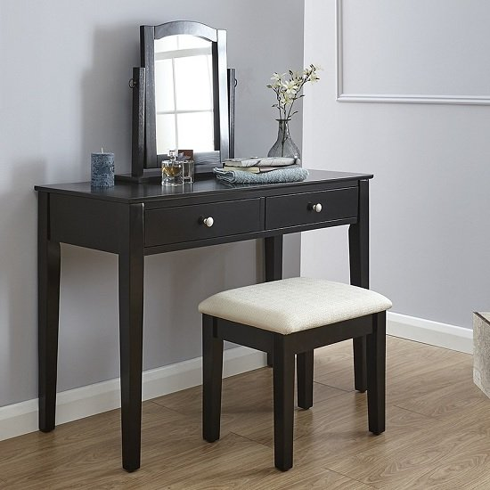 Valerio Wooden Dressing Table Set In Black