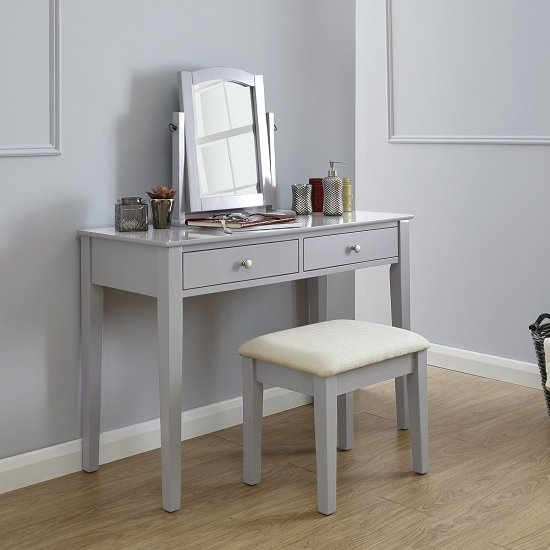 Valerio Wooden Dressing Table Set In Grey