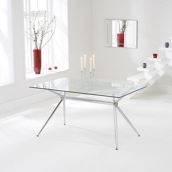 Valerno Glass Dining Table Rectangular In Clear With Chrome Legs