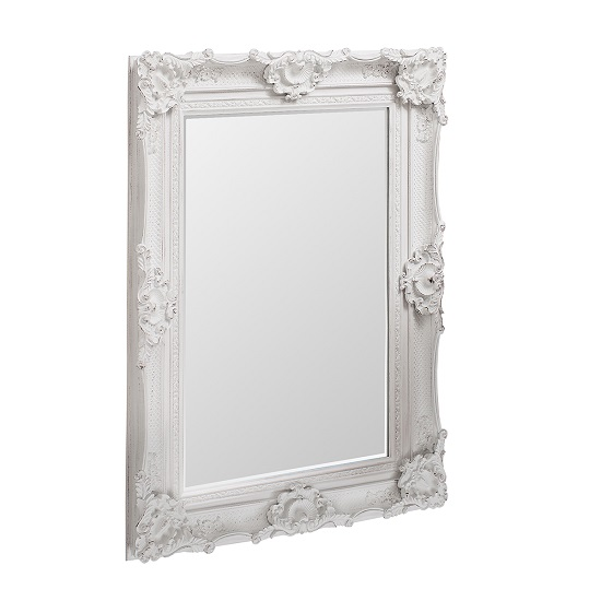 Valley Wall Mirror Rectangular In White With Baroque Style