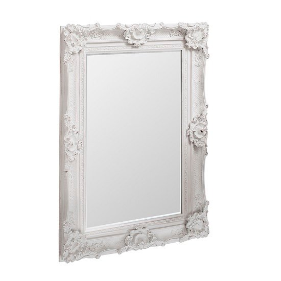Valley wall mirror rectangular in white with baroque style for Rectangular baroque mirror