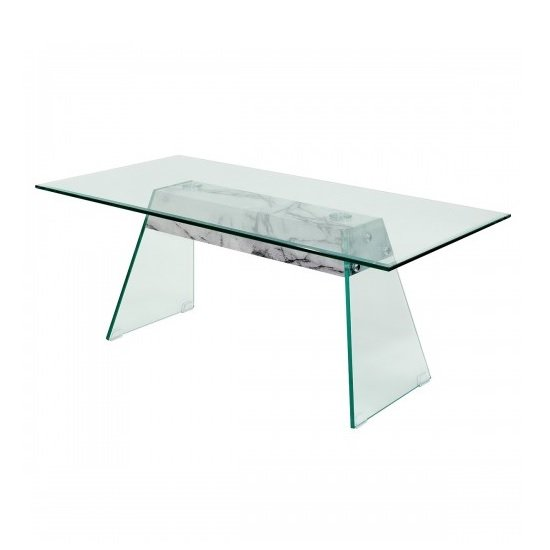 Vancouver Glass Coffee Table In Clear And Marble effect Support
