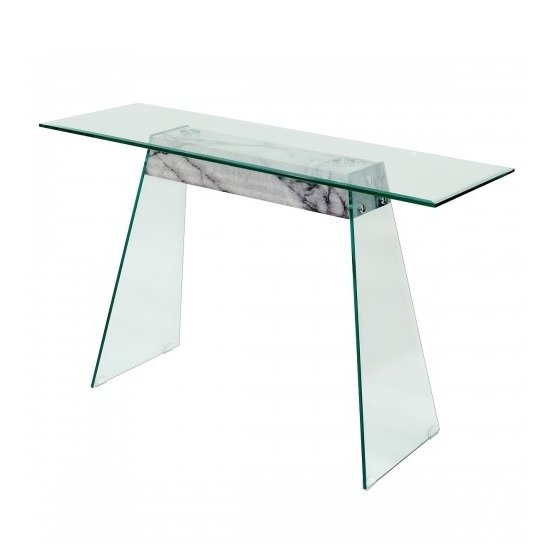 Product photograph showing Vancouver Glass Console Table In Clear Marble Effect Support