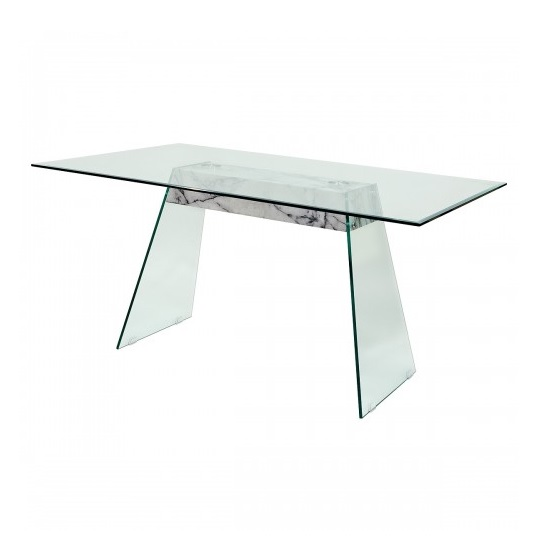 Vancouver Glass Dining Table In Clear And Marble effect Support