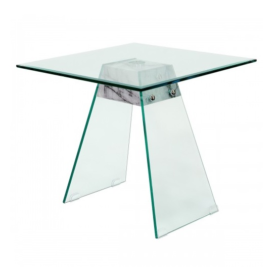 Product photograph showing Vancouver Glass Lamp Table In Clear And Marble Effect Support