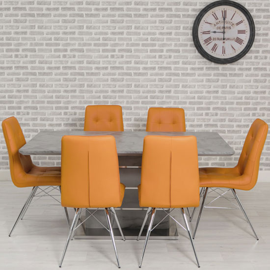 Product photograph showing Vancouver Marble Effect Dining Set With 6 Orange Tampa Chairs