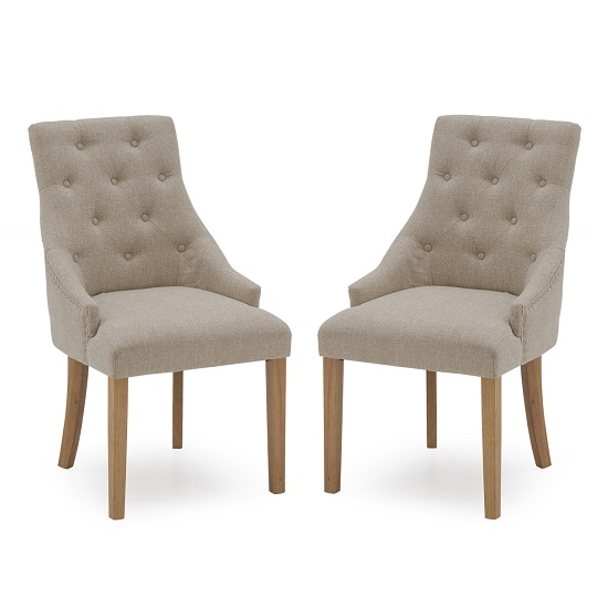 Vanille Linen Dining Chair In Beige With Oak Legs In A Pair_1