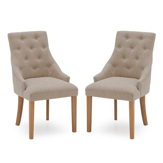 Vanille Linen Dining Chair In Beige With Oak Legs In A Pair