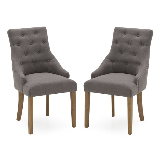 Vanille Linen Dining Chair In Grey With Oak Legs In A Pair