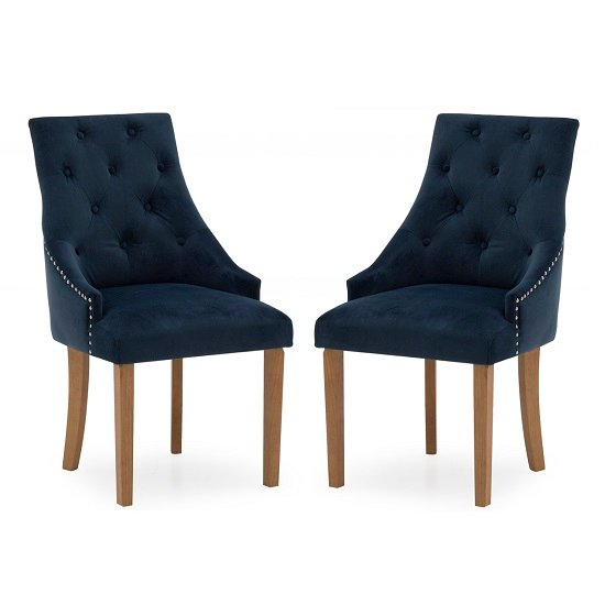 Vanille Velvet Dining Chair In Blue With Oak Legs In A Pair