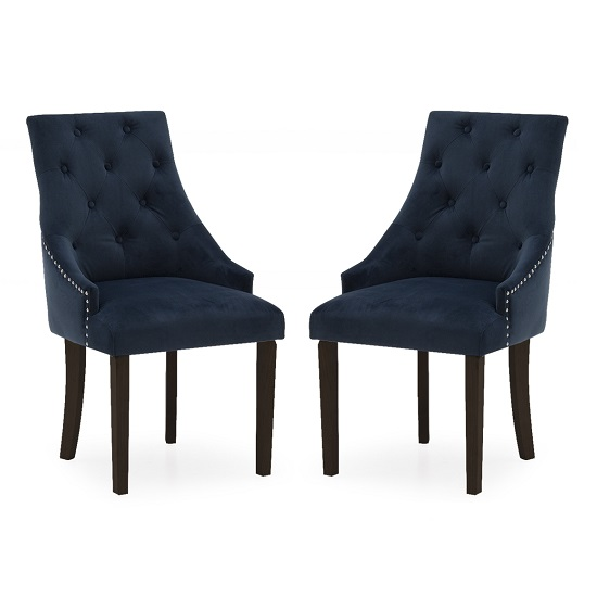 Vanille Velvet Dining Chair In Blue With Wenge Legs In A Pair