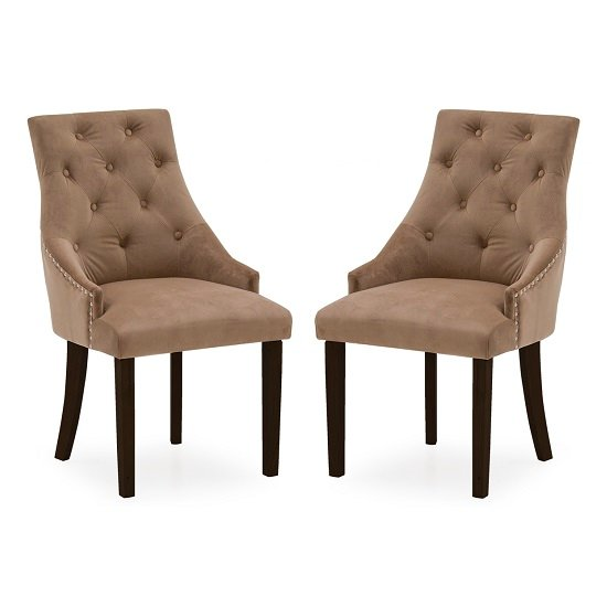 Vanille Velvet Dining Chair In Cedar With Wenge Legs In A Pair