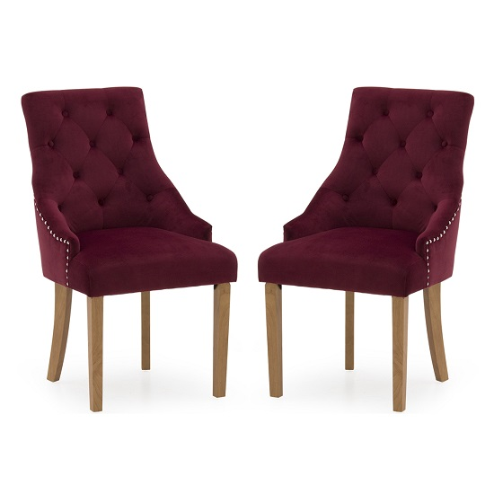 Vanille Velvet Dining Chair In Crimson With Oak Legs In A Pair