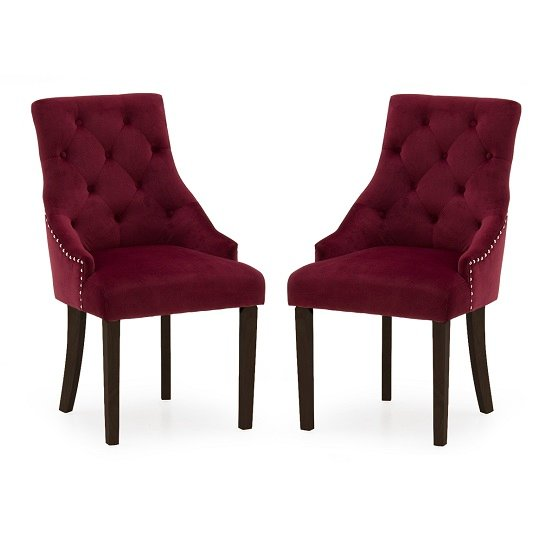 Vanille Velvet Dining Chair In Crimson With Wenge Legs In A Pair
