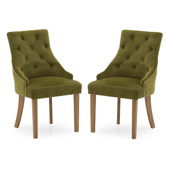 Vanille Velvet Dining Chair In Moss With Oak Legs In A Pair