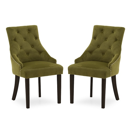 Vanille Velvet Dining Chair In Moss With Wenge Legs In A Pair