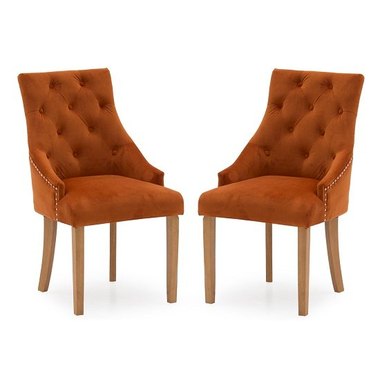 Vanille Velvet Dining Chair In Pumpkin With Oak Legs In A Pair