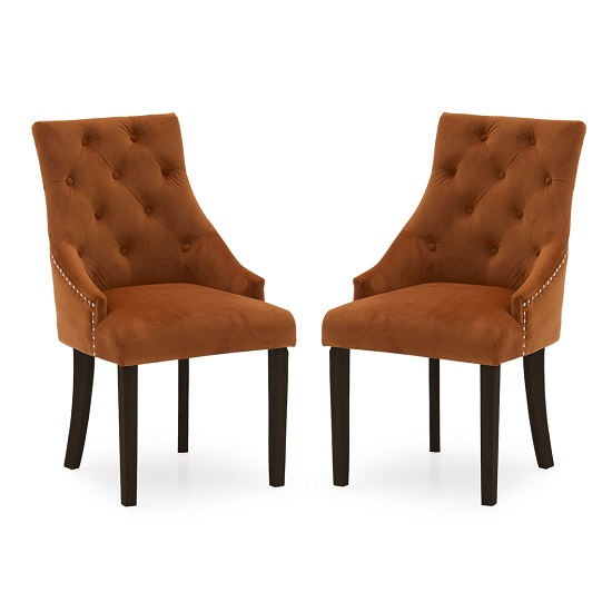 Vanille Velvet Dining Chair In Pumpkin With Wenge Legs In A Pair