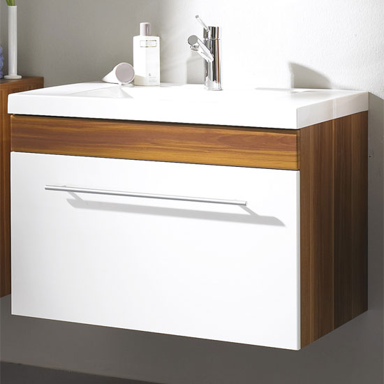 Impuls Walnut White Bathroom Vanity with Wash Basin