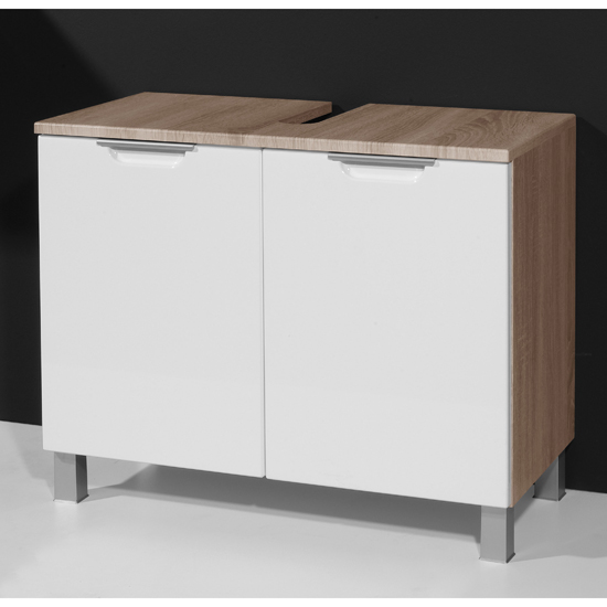 Santos Bathroom Vanity Unit in Gloss White Oak
