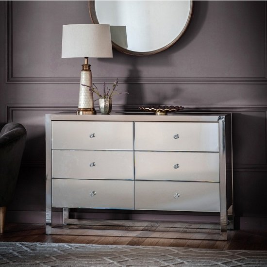 Vanves Mirroed Effect Chest Of Drawers With Three Drawers