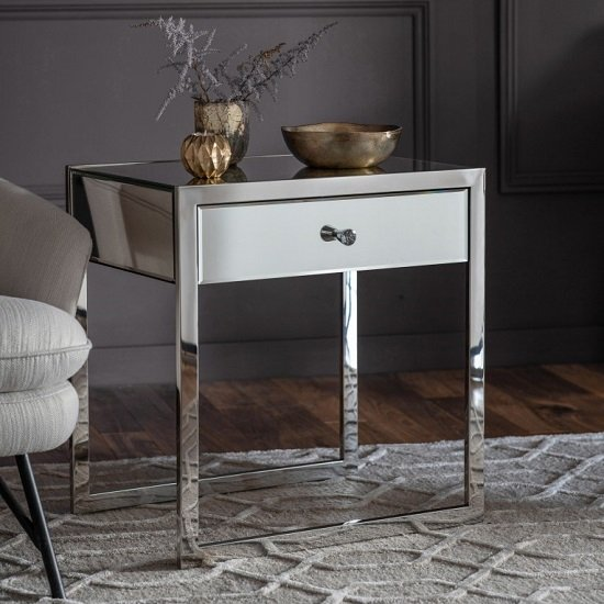 Vanves Mirroed Effect Side Table With One Drawer