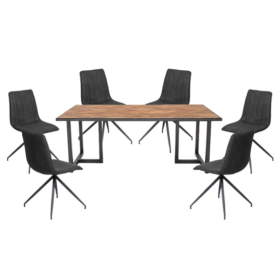 Vanya Dining Set In Light Brown With 6 Isaac Charcoal Chairs
