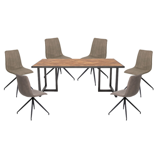 Vanya Dining Set In Light Brown With 6 Isaac Taupe Chairs