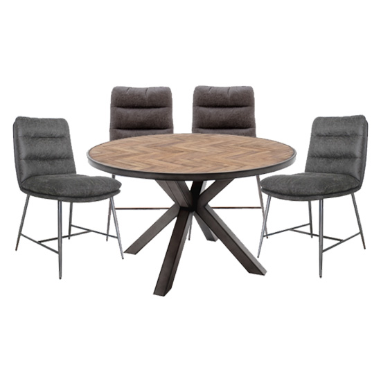 Product photograph showing Vanya Round Dining Set In Light Brown With 4 Romy Chairs