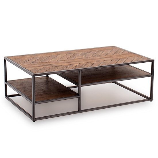 Vanya Wooden Coffee Table In Light Brown With Metal Legs