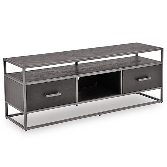 Vanya Wooden TV Stand In Dark Brown With Metal Legs