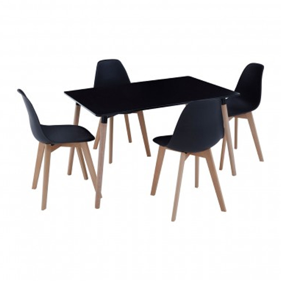 Varbor Wooden Dining Table With 4 Chairs In Black