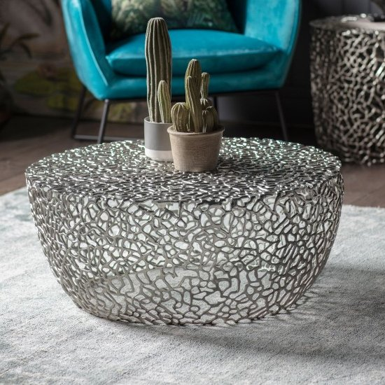 Vardent Metal Coffee Table In Silver