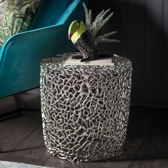 Vardent Metal Side Table In Silver