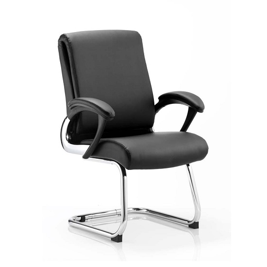 Product photograph showing Vargas Visited Chair In Black With Padded Arms