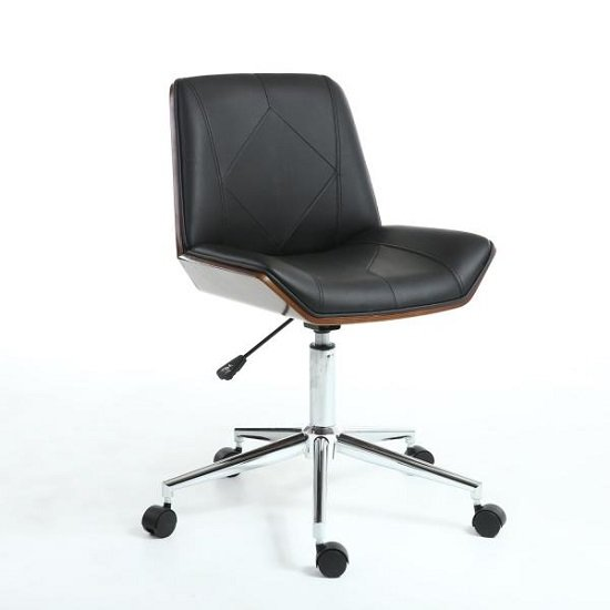 Varley Home Office Chair In Black PU And Walnut With Castors_1