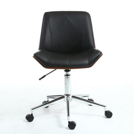 Varley Home Office Chair In Black PU And Walnut With Castors_2