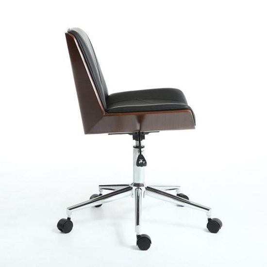 Varley Home Office Chair In Black PU And Walnut With Castors_3