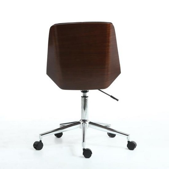 Varley Home Office Chair In Black PU And Walnut With Castors_5