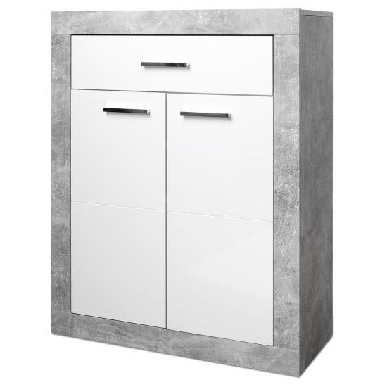 Varna Shoe Cabinet In Structure Concrete And Glossy White