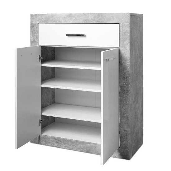 Varna Hallway Furniture Set In Structure Concrete Glossy White_2