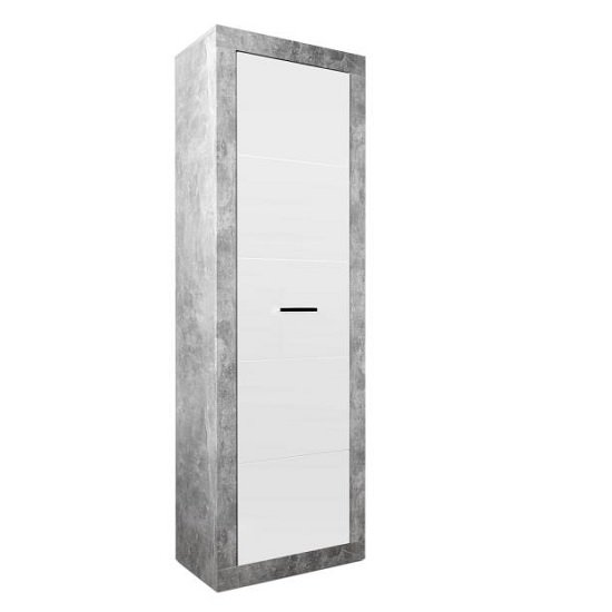 Varna Hallway Cupboard In Structure Concrete And Glossy White