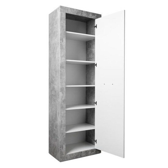 Varna Hallway Furniture Set In Structure Concrete Glossy White_3
