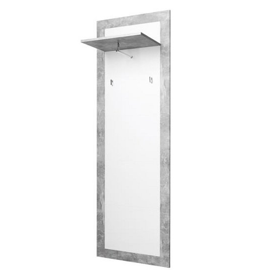 Varna Wall Coat Rack In Structure Concrete And Glossy White
